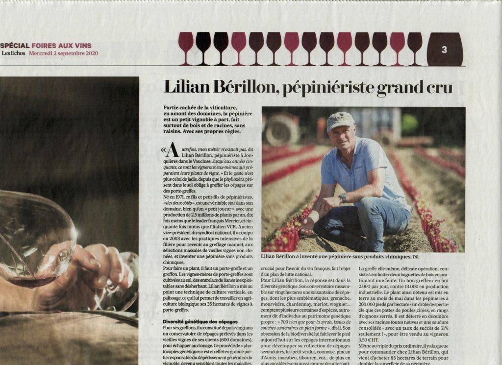 Article des Echos, Spécial Foires aux vins