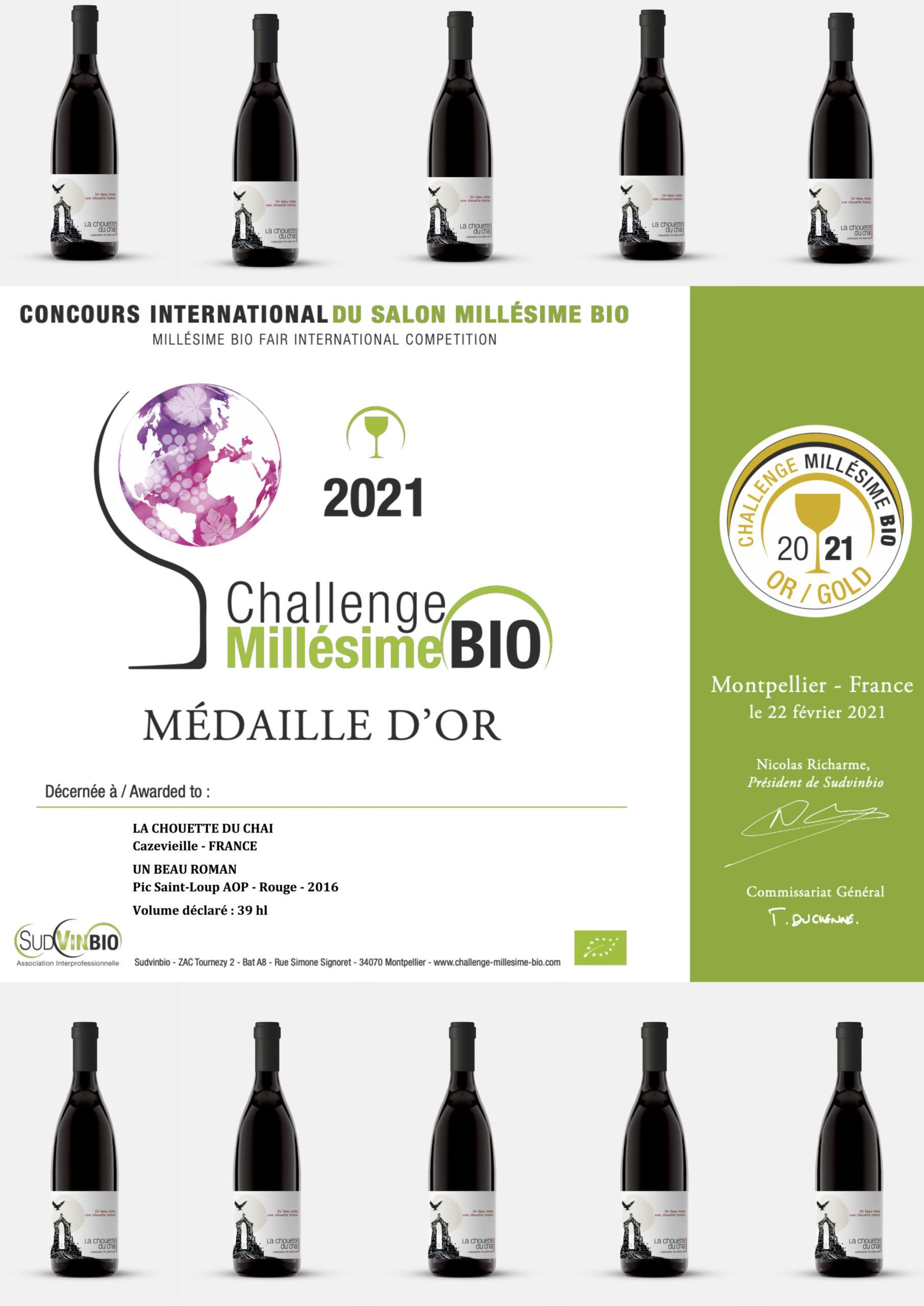 La Chouette reçoit une médaille d'or au challenge Millésime Bio