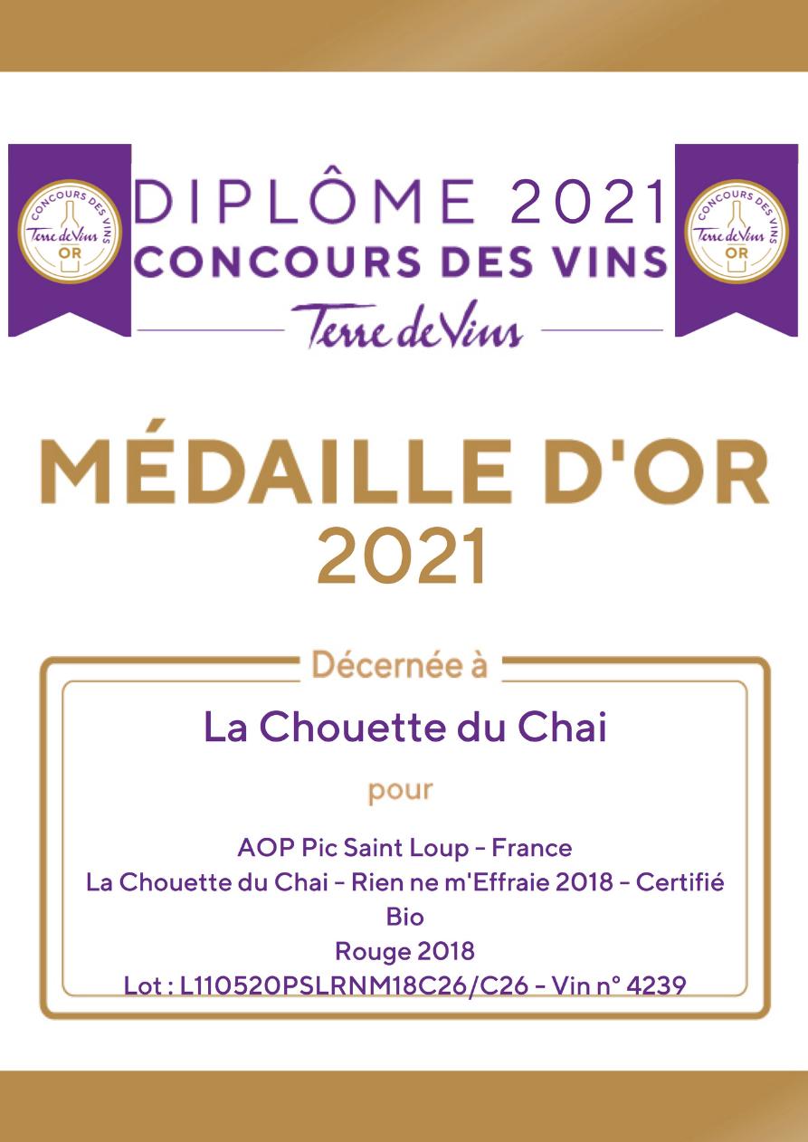 """Une médaille d'Or au Concours des vins """"Terre de Vins"""" 2021"""