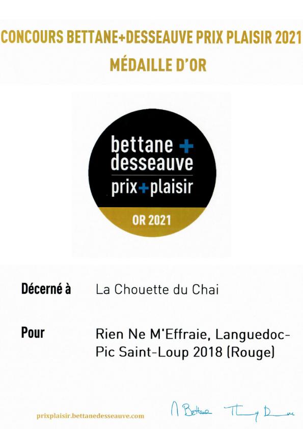 Une médaille d'or au concours Bettane + Desseauve Prix Plaisir